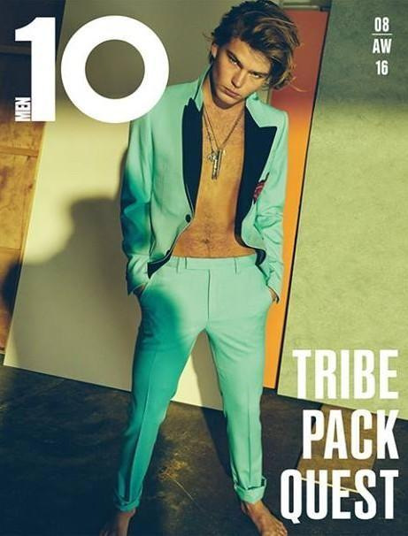 Jordan Barrett covers 10 Men Magazine F/W 2016 Issue