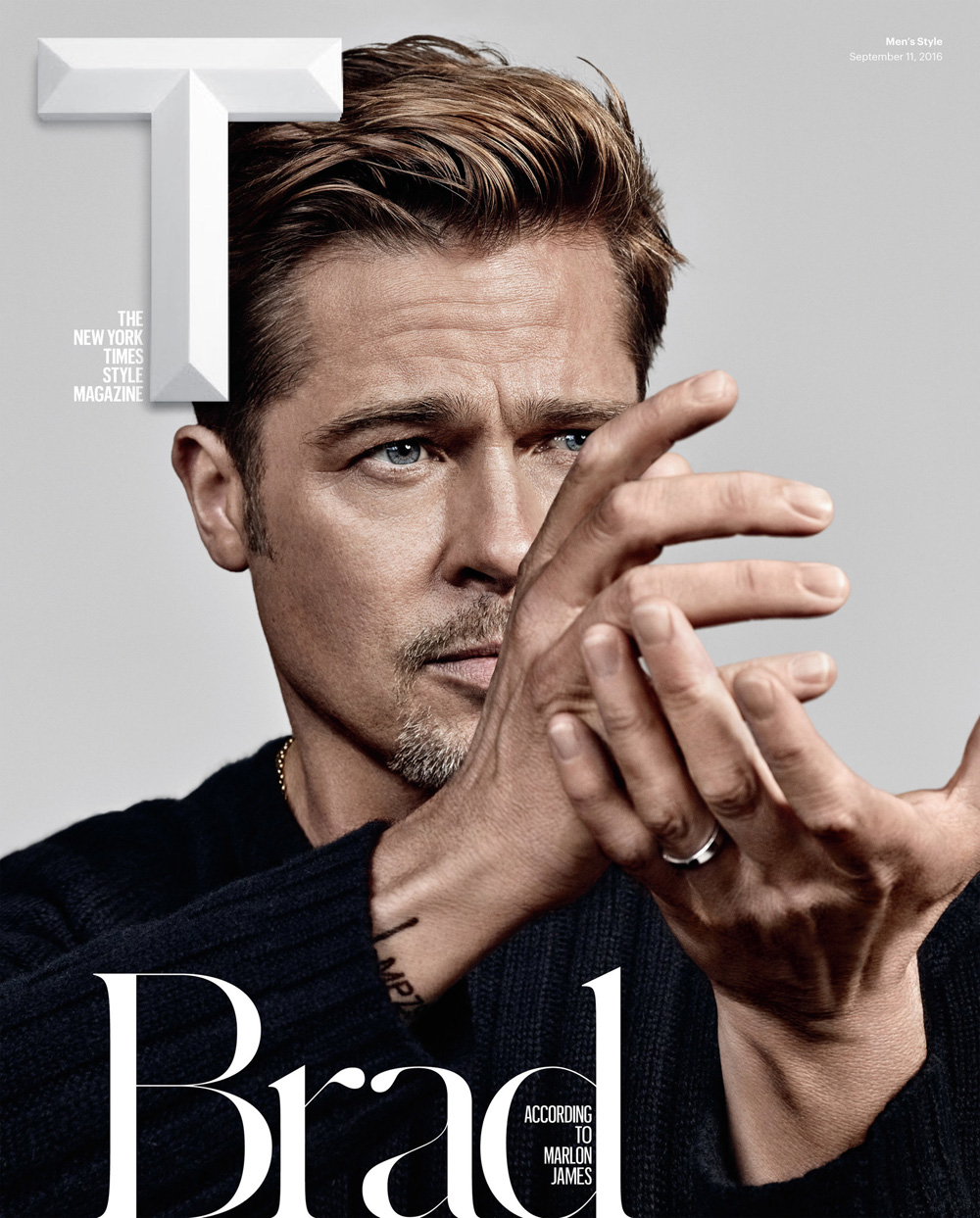 Marlon James writes about Actor Brad Pitt in the new man's fashion issue of T Magazine F/W 2016 shot by photographer Craig McDean. Styled by Jason Rider.