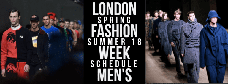 London Fashion Week Men's Schedule
