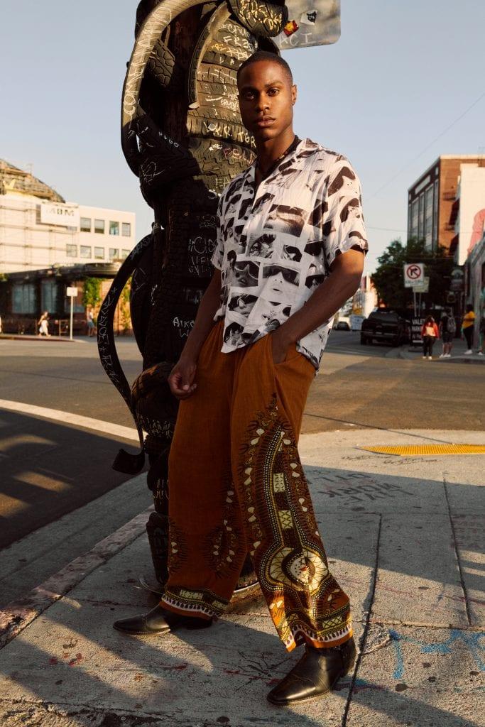 Orange Harem Pants - Nigerian Vintage Sedation eyes shirt - Ksubi