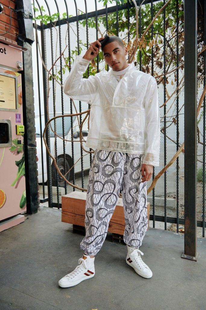 Jacket - Helmut Lang o Sneakers - Bally o White Harem Pants - Nigerian Vintage