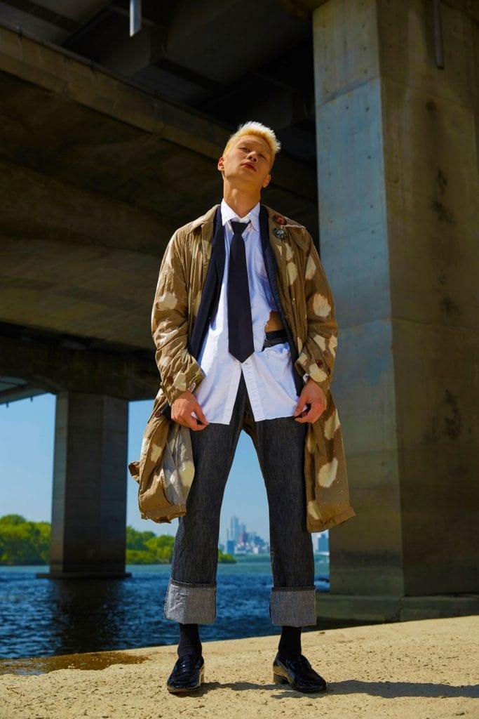C.P Company Jacket, Rogatis blazer, white shirt & necktie (stylist own), Misope loafer shoes