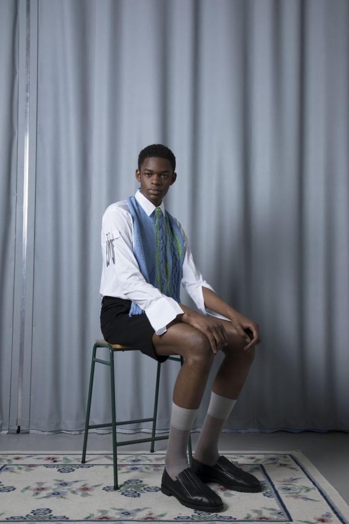 Shirt: Fraser Maximilian Jumper: Thomas Reichegger Shorts: Maje Socks: Falke Shoes: Steven Passaro