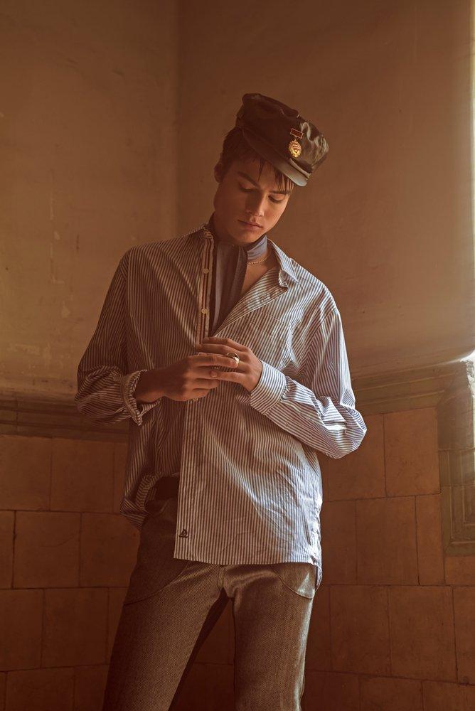 Beref: Flea Market Shirt: NAUTISH Trousers and Scarf: MANOV Ring: JACOBO TOLEDO