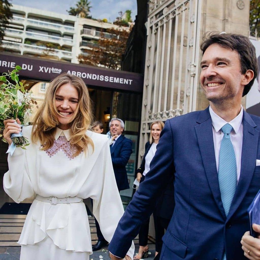 Natalia Vodiánova in Ulyana Sergeenko Couture dress and Antoine Arnault on their wedding in Paris