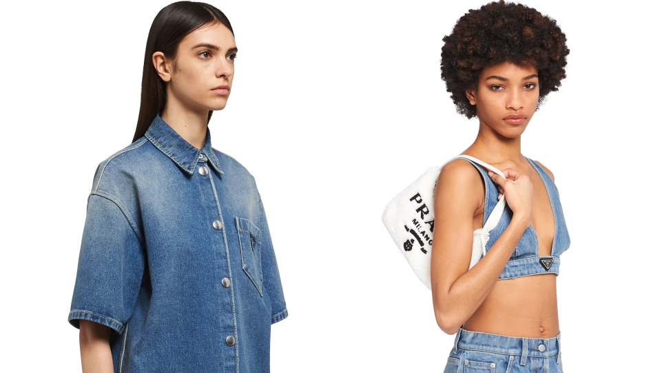 Two models wearing denim attire from the new prada collection, a shirt and a bralette