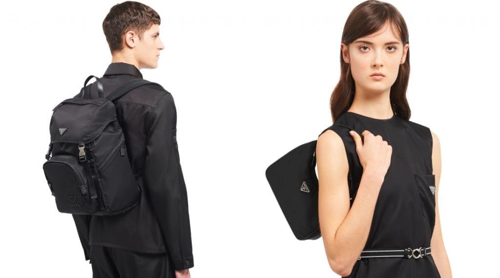Male and female model wearing Prada re-nylon bags