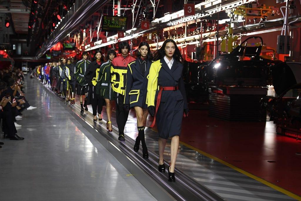 Models in the runway of Ferrari's fashion show