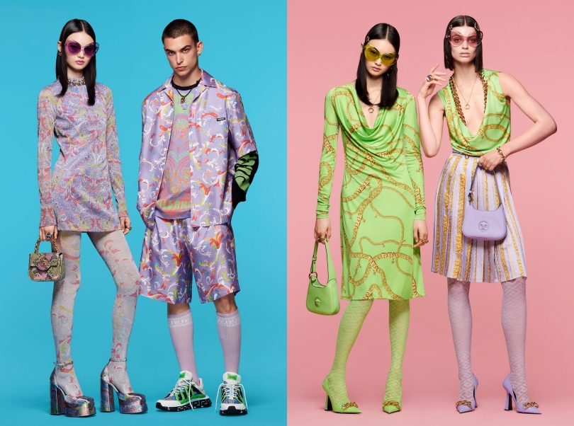 Models wearing items from Versace Resort 2022